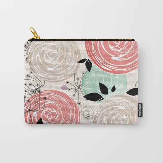 Retro . Abstract floral pattern. f Carry-All Pouch