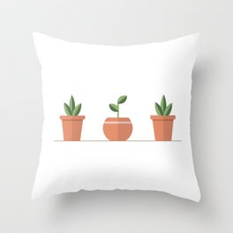 Three little plants Throw Pillow