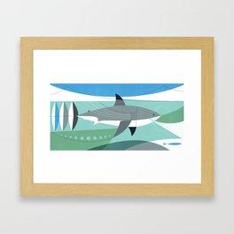 Keep Moving Forward (great White Shark) Framed Art Print