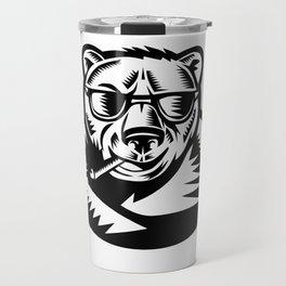 Bear Smoking Cigar Woodcut Travel Mug