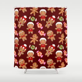 Cute decorative seamless pattern. Happy gingerbread men, sweet xmas caramel chocolate candy. hygge Shower Curtain