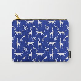 Animal kingdom. Black silhouettes of wild animals. African giraffes, leopards, cheetahs. snakes, exotic tropical birds. Tribal primitive ethnic nature navy grunge distressed pattern. Carry-All Pouch