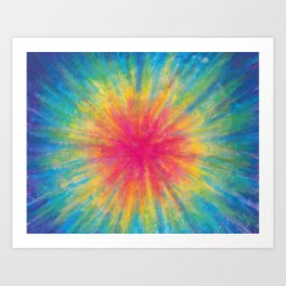 Tie Dye Rainbow Vibrant Saturated Painting Drawing Coloring Art Print