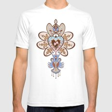 Flowering Heart White SMALL Mens Fitted Tee