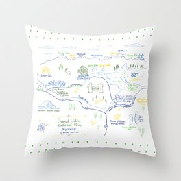 Grand Teton National Park Illustrated Calligraphy Map Throw Pillow