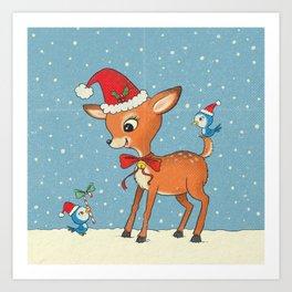 Vintage deer Art Print