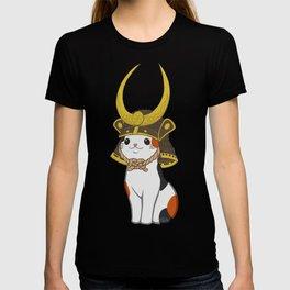Japanese Bobtail Cat Wears Samurai Hat T-shirt
