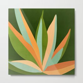 Colorful Agave / Painted Cactus Illustration Metal Print