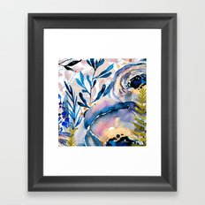Flowers watercolor blue Framed Art Print