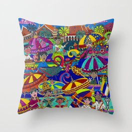 River Festival on the Tonle Sap Throw Pillow