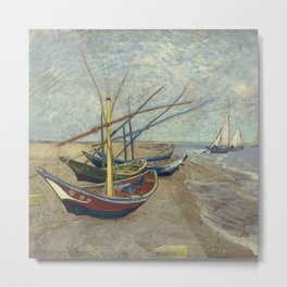 Fishing boats on the beach at Les Saintes-Maries-de-la-Mer Metal Print