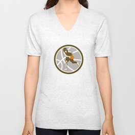 Basketball Player Dribbling Ball Circle Retro Unisex V-Neck