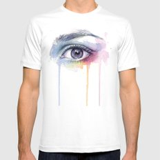 Colorful Eye Dripping Rainbow Mens Fitted Tee White MEDIUM