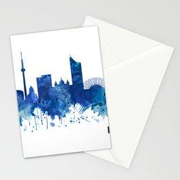 Leipzig Germany Skyline Blue Stationery Cards
