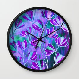 EFFLORESCENCE Lavender Purple Blue Colorful Floral Watercolor Painting Summer Garden Flowers Pattern Wall Clock