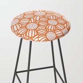 Field of daisies - orange Bar Stool