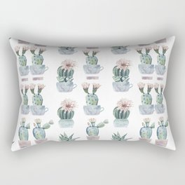 Girly Rose Cactus Pots Rectangular Pillow