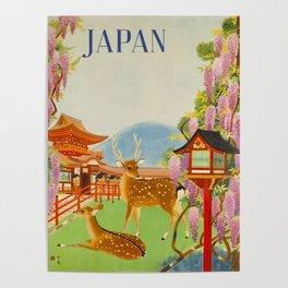 Vintage Mid Century Modern Japan Travel Poster Deer Red Pagoda Wisteria Garden Poster