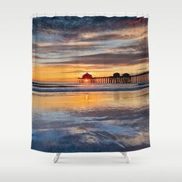 Sunset Reflections Huntington Beach Pier  1-8-15 Shower Curtain