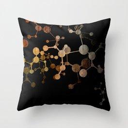 Metallic Molecule Throw Pillow