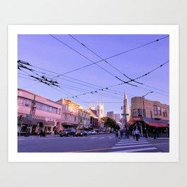 sf at sunset Art Print