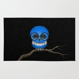 Baby Owl with Glasses and Honduras Flag Rug