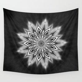 Black Ice Mandala Swirl Wall Tapestry