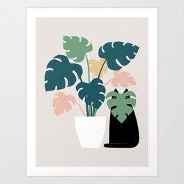 Cat and Plant 21: Leaf Me Alone Art Print
