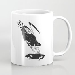 Grim reaper skater - funny skeleton - gothic monster - black and white Coffee Mug