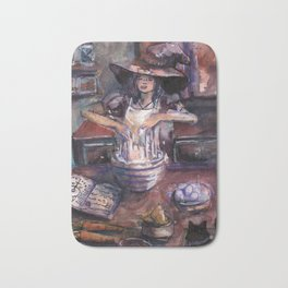 Witch making cake Bath Mat