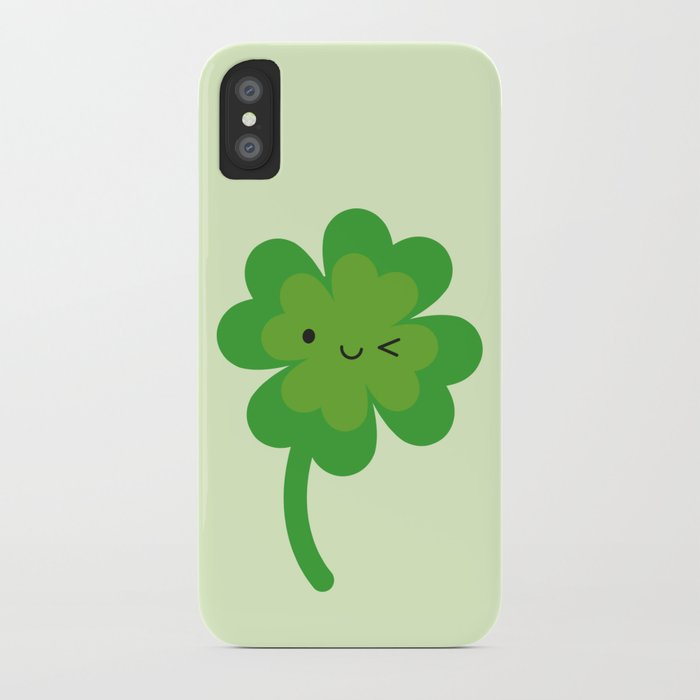 Kawaii Lucky Four Leaf Clover iPhone Case