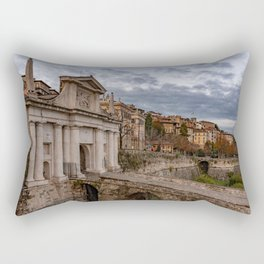 Side view of Porta San Giacomo and the walls of the upper city of Bergamo Rectangular Pillow