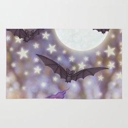 the moon, stars, bats, & calla lilies Rug