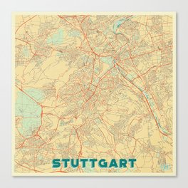 Stuttgart Map Retro Canvas Print