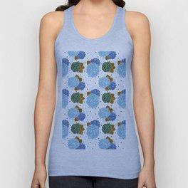 Blue green watercolor hydrangea flowers polka dots Unisex Tank Top