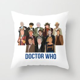 Doctor Who Through the Years Throw Pillow