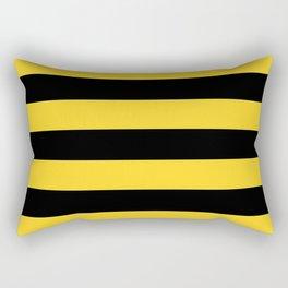Yellow and Black Honey Bee Horizontal Cabana Tent Stripes Rectangular Pillow