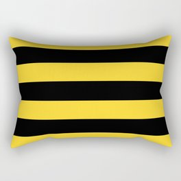 Yellow and Black Honey Bee Horizontal Cabana Tent Stripes Rectangular Pillow