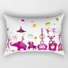 colorful circus carnival traveling in one row on white background Rectangular Pillow