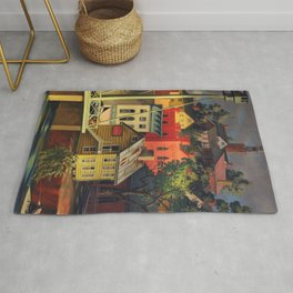 New England Town on the Two Rivers with Bridge landscape painting by Peter Blume Rug