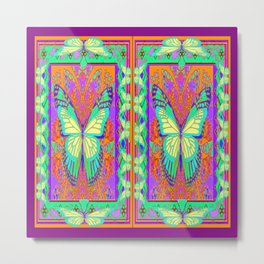 Ethereal Monarch Butterflies Violet Western Style  Abstract Metal Print