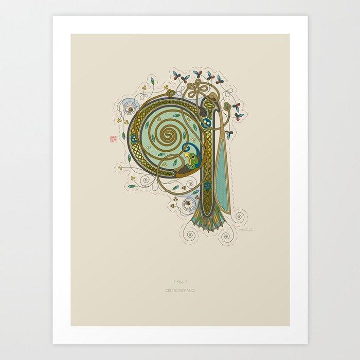 Celtic Initial Q Art Print