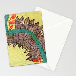 Mississippi River Map painting Stationery Cards