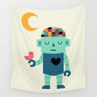 robot Wall Tapestries featuring Robot Dreams by Andy Westface