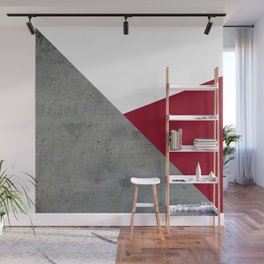 Concrete Burgundy Red White Wall Mural
