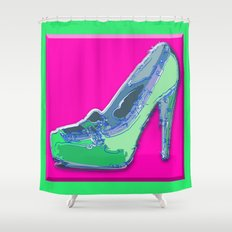 Green in pink  Shower Curtain