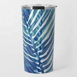 Abstract Palm Leaves | Blue Travel Mug