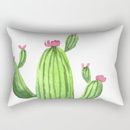 Green Cacti with Pink Flowers Rectangular Pillow