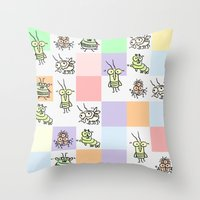 bugs Throw Pillows featuring Bugs by Scribblebro