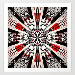 Red And Black Helping Hands Mandala Art Print